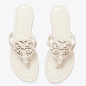 Tory Burch Miller Patent Thong Sandals Ivory